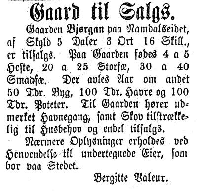 Annonse 1890.