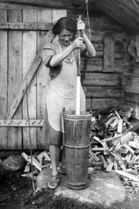 22.  Henriette Lingen med strokkjinna i Sandvasslia- 1944