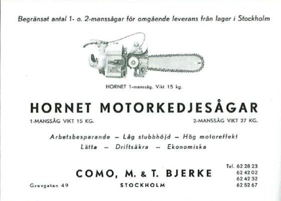 Motorsag Annonse fra tidskriftet Skogen 1949